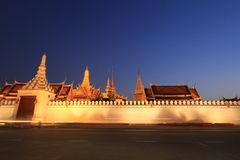 Night view of Grand palace in Bangkok,Thailand. Royalty Free Stock Image