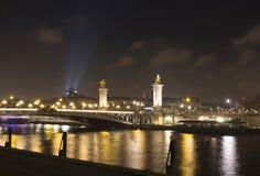 Night view of Grand Palais Palace royalty free stock image