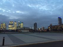 Night view of the Greenwich Peninsula. Greenwich Peninsula view at the evening royalty free stock photo