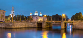 Night view on Griboedov Canal and St. Nicholas Naval Cathedral Royalty Free Stock Photography
