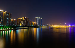 Night view in guangzhou bund. Stock Photos