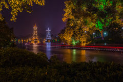 Night view at Guilin. Guangxi province, China stock photos