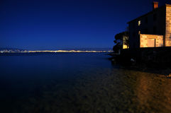 Night view of the gulf and the city of Rijeka Royalty Free Stock Photo