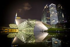 Night view of Guangzhou Opera House in China royalty free stock photo