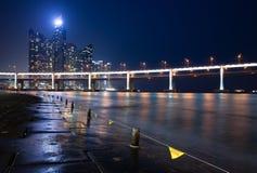 Night view of Haeundae skyscrapers, Busan Royalty Free Stock Photography