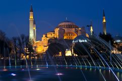 Night view of Hagia Sophia (Aya Sofia) mosque Royalty Free Stock Photography