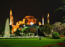 Night view of the Hagia Sophia in Istanbul Royalty Free Stock Images