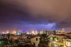 Night view of Haifa stock photos