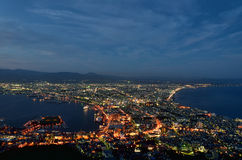 Night view of Hakodate. Stock Photos