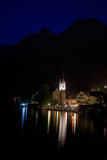 Night view of Hallstatt village Royalty Free Stock Image