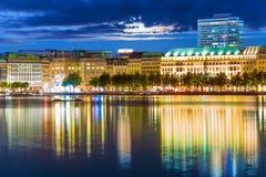 Night view of Hamburg, Germany Royalty Free Stock Photos