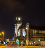 Night view of Hamburg main railway station Royalty Free Stock Images
