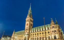 Night view of Hamburg Town Hall. City Rathaus magnificence Stock Photos