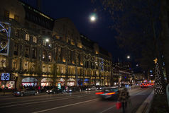 Night view at Hamngatan in Stockholm, Sweden Royalty Free Stock Photos