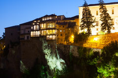 Night view of Hanging houses in Cuenca Royalty Free Stock Image