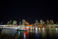 Night view of the harbor. The beautiful Harbour brightly lit in the night Royalty Free Stock Photos