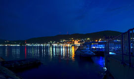 Night view of a Harbor at the Danube Royalty Free Stock Photo