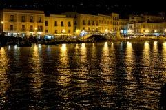 Night view of Harbor of Lipari Royalty Free Stock Image