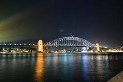 Night view. Harbour Bridge. Sydney. New South Wales. Australia. Sydney is the state capital of New South Wales and the most populous city in Australia and royalty free stock image