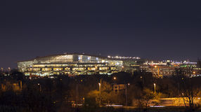 Night View of Heathrow Terminal 5. Panoramic view of Heathrow Terminal 5 lit up at night. The terminal has experienced problems with replacing lights many of Royalty Free Stock Photography
