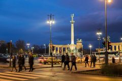 The night view of Heroes square in Budapest. Hungary. BUDAPEST, HUNGARY - DECEMBER 11, 2016: The night view of Heroes square in Budapest. Hungary royalty free stock photo