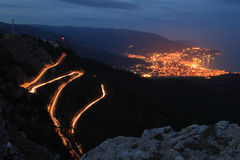 Night view of the high mountains Stock Photos