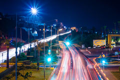 Night view of the highway between Antalya and Alanya Royalty Free Stock Image
