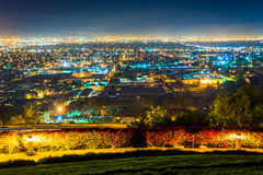 Night view from Hilltop Park, in Signal Hill  Royalty Free Stock Photos
