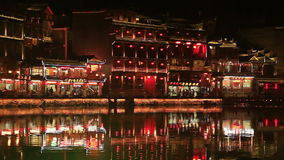 Night view of the historic center of Fenghuang city stock footage