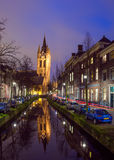 Night view of the historic city center of Delft, The Netherlands Royalty Free Stock Image