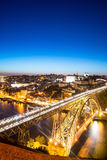 Night view of the historic city of Porto, Portugal with the Dom Stock Photos