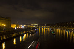 Night view on the historic Prague cityscape Stock Photography
