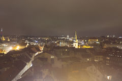 Night view on the historic Prague cityscape with an church and National Museum Royalty Free Stock Photography