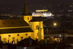 Night view on the historic Prague cityscape with an church and National theater Stock Images