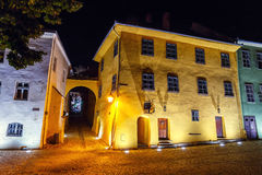Night view of historic town Sighisoara. City in which was born Vlad Tepes, Dracul Royalty Free Stock Photography