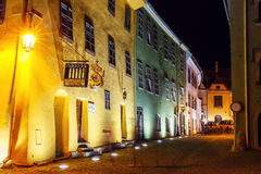 Night view of historic town Sighisoara. City in which was born Vlad Tepes, Dracula Royalty Free Stock Photo