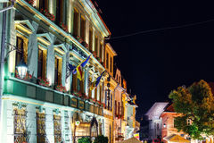 Night view of historic town Sighisoara. City in which was born Vlad Tepes, Dracula Royalty Free Stock Photography