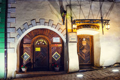 Night view of historic town Sighisoara. City in which was born Vlad Tepes, Dracula Stock Photography