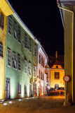 Night view of historic town Sighisoara. City in which was born Vlad Tepes, Dracula Stock Image