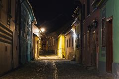 Night view of historic town Sighisoara Stock Photo