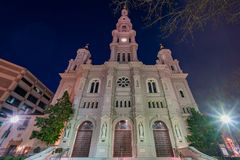 Night view of the historical Cathedral of the Blessed Sacrament Royalty Free Stock Image