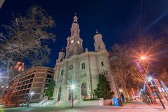 Night view of the historical Cathedral of the Blessed Sacrament Stock Photography