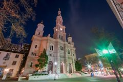 Night view of the historical Cathedral of the Blessed Sacrament Stock Photo
