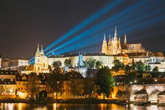 Night view of historical center of Prague Stock Photo