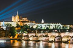 Night view of historical center of Prague. With castle, Hradcany, Czech Republic stock image