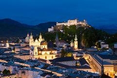 Night view on the historical centre of Salzburg city and Hohensalzburg fortress Royalty Free Stock Image