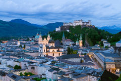 Night view on the historical centre of Salzburg city and Hohensalzburg fortress Stock Photo