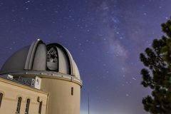 Night view of the historical Lick Observatory with the dome opened stock photography