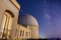 Night view of the historical Lick Observatory stock image