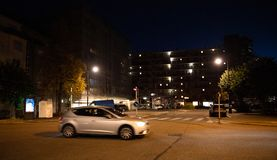 Night view of HLM buildings habitation a loyer modere. Strasbourg, France - Oct 13, 2018: Night view of HLM buildings habitation a loyer modere Esplanade stock images